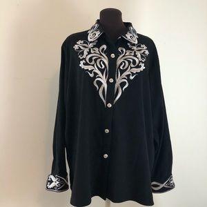 Bob Mackie Embroidered Wearable Art Shirt Size 1X